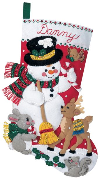 Snowman and Friends Bucilla Felt Applique Christmas Stockings Large