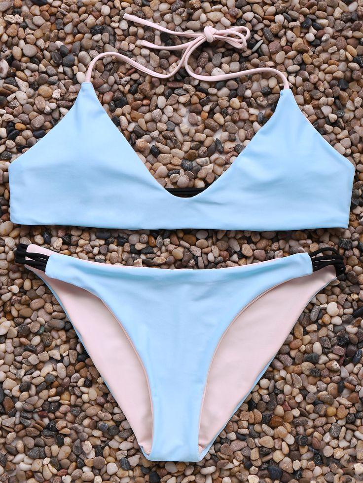 Halter Neck Contrast Bikini Set ICE BLUE: Bikinis | ZAFUL | http://www.zaful.com/halter-neck-contrast-bikini-set-p_179223.html