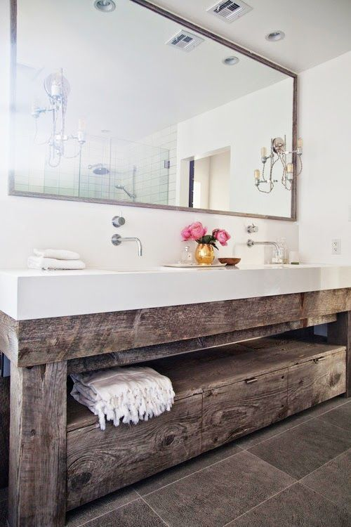 #modernrustic #bathroom | Under sink storage for a floating sink Mix and Chic: Home tour- A bright and airy Studio City home!