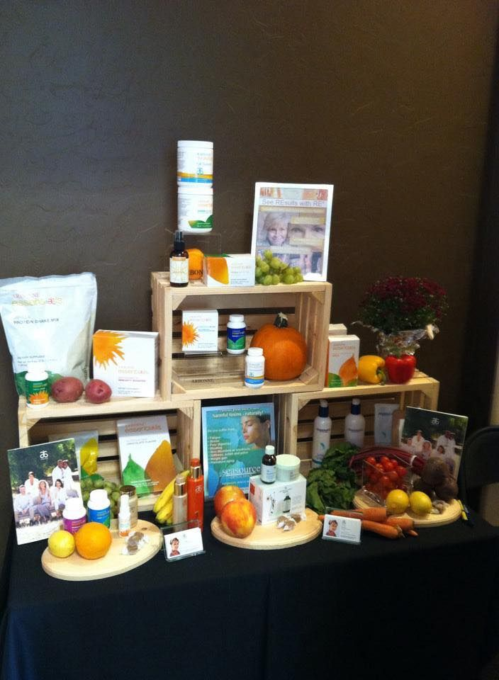 Arbonne's Fall  vendor table display by ENVP Pat Kazor. For more info on the products you see here, the uses and benefits visit my web store at www.surshae.com or my FB page at surshae @Arbonne International. Consultant ID: 21565488
