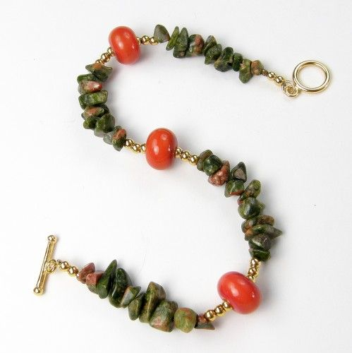 Unakite Gemstone Bracelet Necklace Earring Set With Lampwork Beads Gold