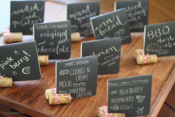 Mini Chalkboard Style Food signs :  wedding black calligraphy chalkboard diy food handwriting ivory menu reception white Food Menu Chalkboard2