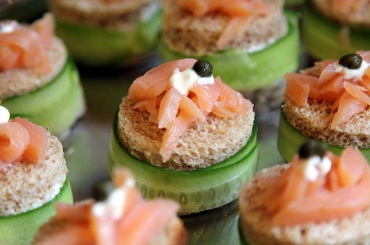 Cucumber and Smoke Salmon Finger Sandwiches with Creme Fraiche and  Cream Cheese Spread~~~~> Recipe here @ https://www.facebook.com/culinarymusician/app_190322544333196