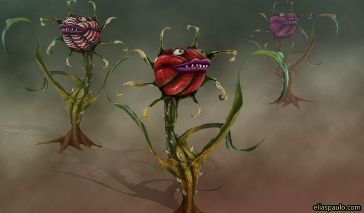 game character, canivours plant, plataform game, 3d, rose, enemy, concept art, design.