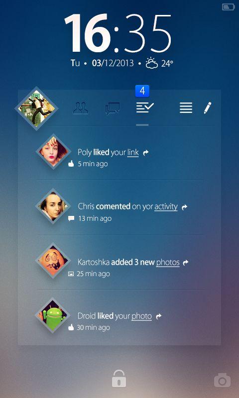 Facebook Wigdet - Concept by Ilya Tsuprun, via Behance