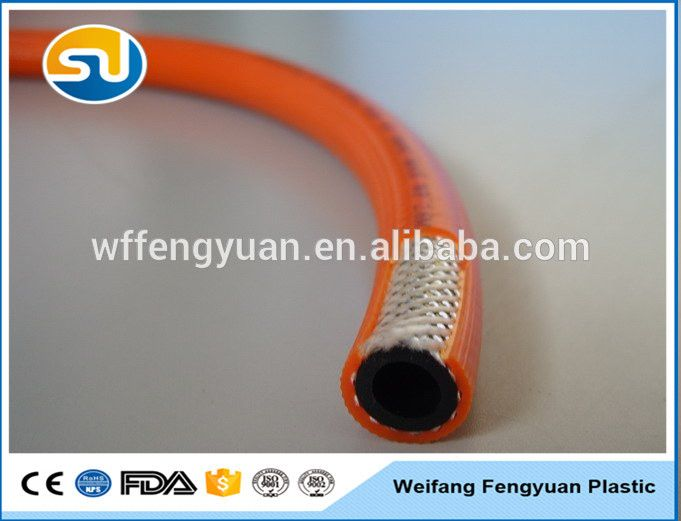 good quality orange braided PVC LPG gas cooker hose pipe