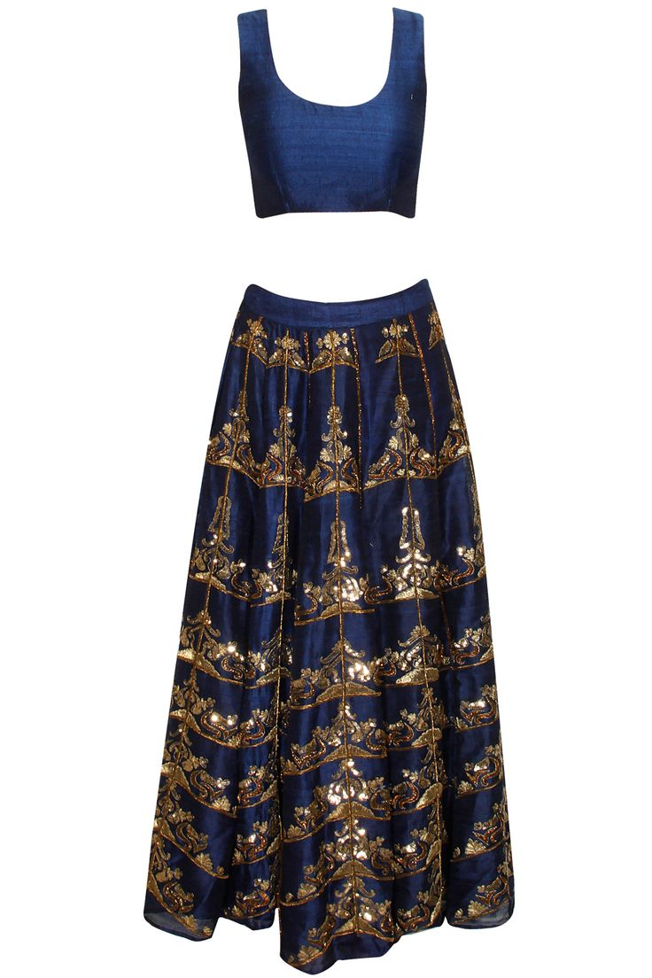 Navy blue antique gold embroidered lehenga set available only at Pernia's Pop-Up Shop.