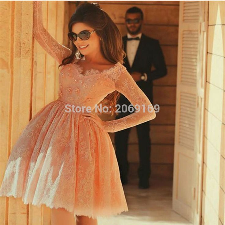 Long Sleeve Short Graduation Dress Lace Beads Illusion 2017 Formal Gowns Short Party Pageant Dresses Ball Graduation Quinceanera