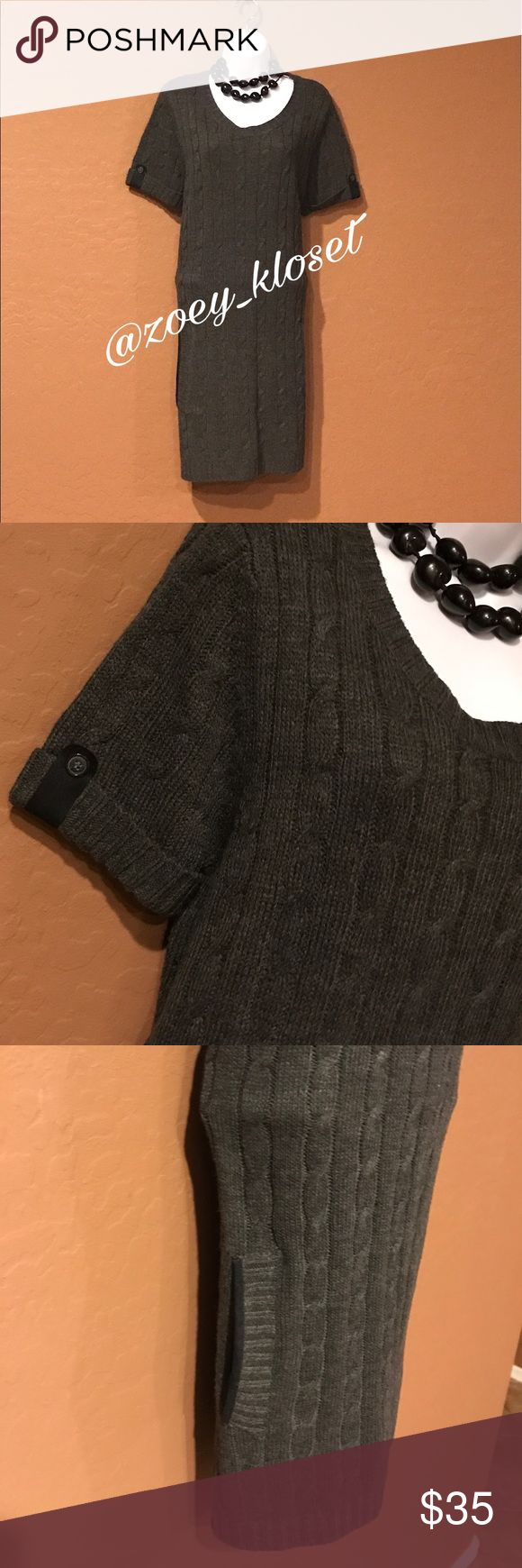 🆕Gray Ribbed Sweater Dress Never Worn, Short Fold Sleeve with Button, Stretch, 2 Low Front Pockets, Black Trim, Accessories not included. I ❤️ Ronson Dresses