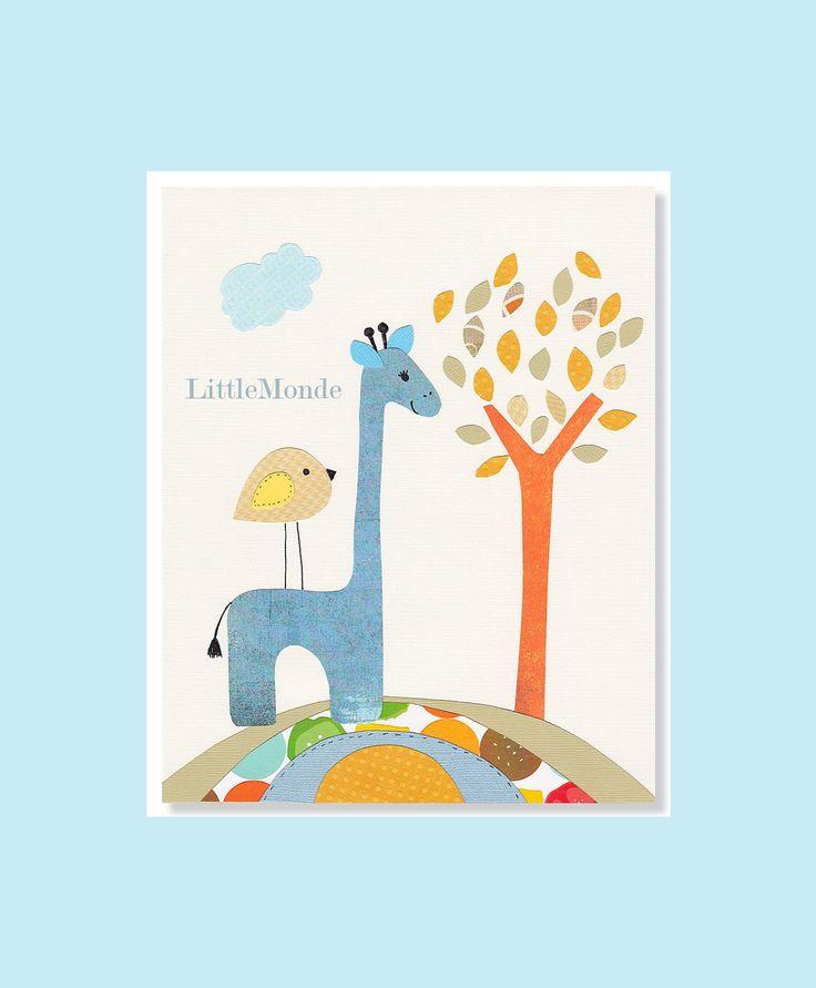 Baby Boy Decor, Zoo Nursery Prints, Giraffe Nursery Print, Blue Nursery Print