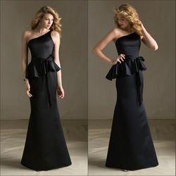 Online Shop Mermaid One Shoulder Falbala Sash Black Dress Bridesmaid Long|Aliexpress Mobile