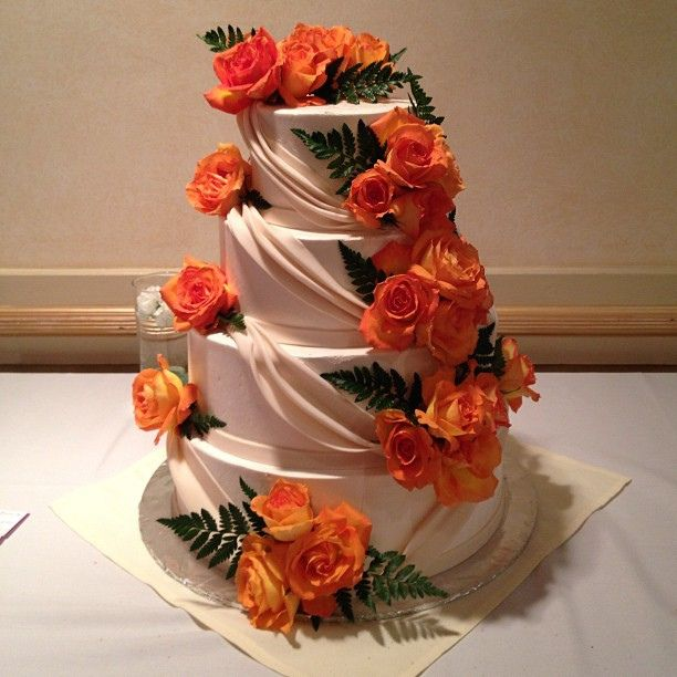 Wedding cake with orange roses. Simple elegance. #detroit | Flickr ...