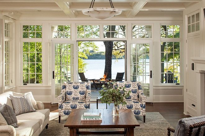 Lake House With a Classic Coastal Feel - Living Room. Amazing View