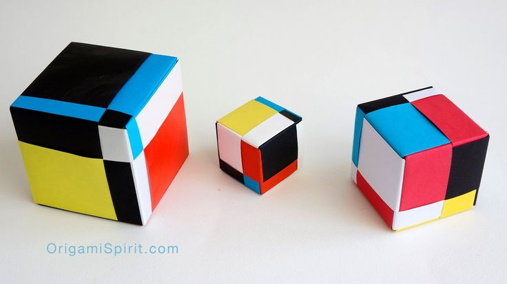 Mondrian Cube : : Cubo Mondrian -Modular Origami