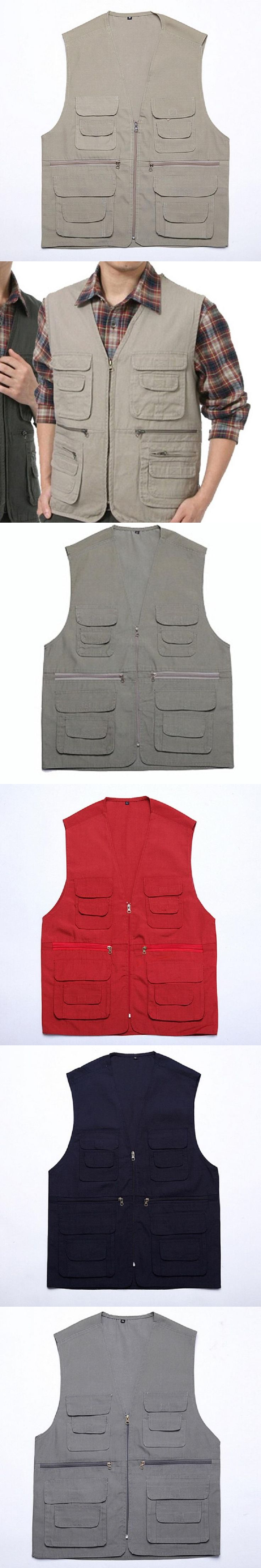 Spring Autumn Multi-pocket Jacket Men Vest Casual Photograph Vest Sleevesless Waistcoat 5 Colors Asian/Tag Size M-2XL