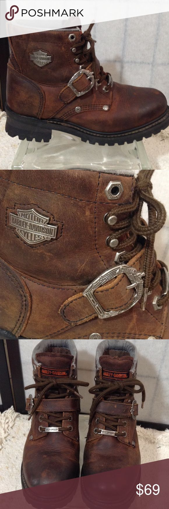 """Harley Davidson brown leather boots Gorgeous distressed brown leather with usual HD silver - buckle, studs, side logo, lace plate; strap and buckle over lace up front; minor fray at cuffs - see pic; good condition with minor scuffing; great boots! 1.75"""" heel; 5"""" shaft; size 9/40 Harley-Davidson Shoes Combat & Moto Boots"""