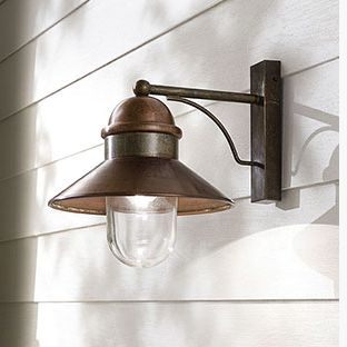 Brass and Copper Exterior Wall Light