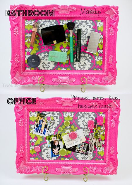 Fabric covered magnetic PICTURE FRAME -DIY TUTORIAL!! Use it in the bathroom for makeup or office for pictures, notes, business cards, etc. So many possibilities. I love the bright colors!