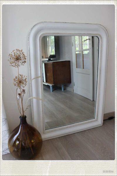 Grand miroir ancien bois platre restaure mon blog meubles vintage pinterest miroirs for Grand miroir gris