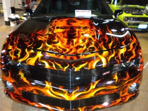 Images Of Cars Painted With Flames | Terminator Real Fire Custom Paint On A  2010 SS