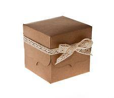 Riciclato KRAFT CARD MATRIMONIO favore caselle (confezione da 25)