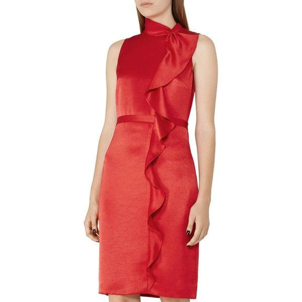 Reiss Lola Ruffled Satin Dress ($100) ❤ liked on Polyvore featuring dresses, china red, going out dresses, ruffle dress, flutter-sleeve dress, mock neck dress and night out dresses