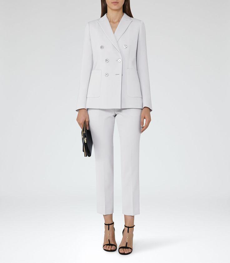 Hadyn Jacket Dove Grey Double-Breasted Blazer - REISS