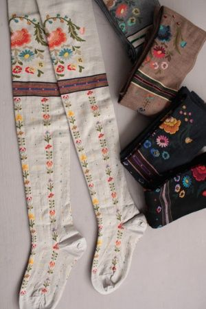 ANTIPAST antipasti THE ETHNIC BOUQUET over knee socks. World heritage in fashion via www.folkloriqueblog.co.uk
