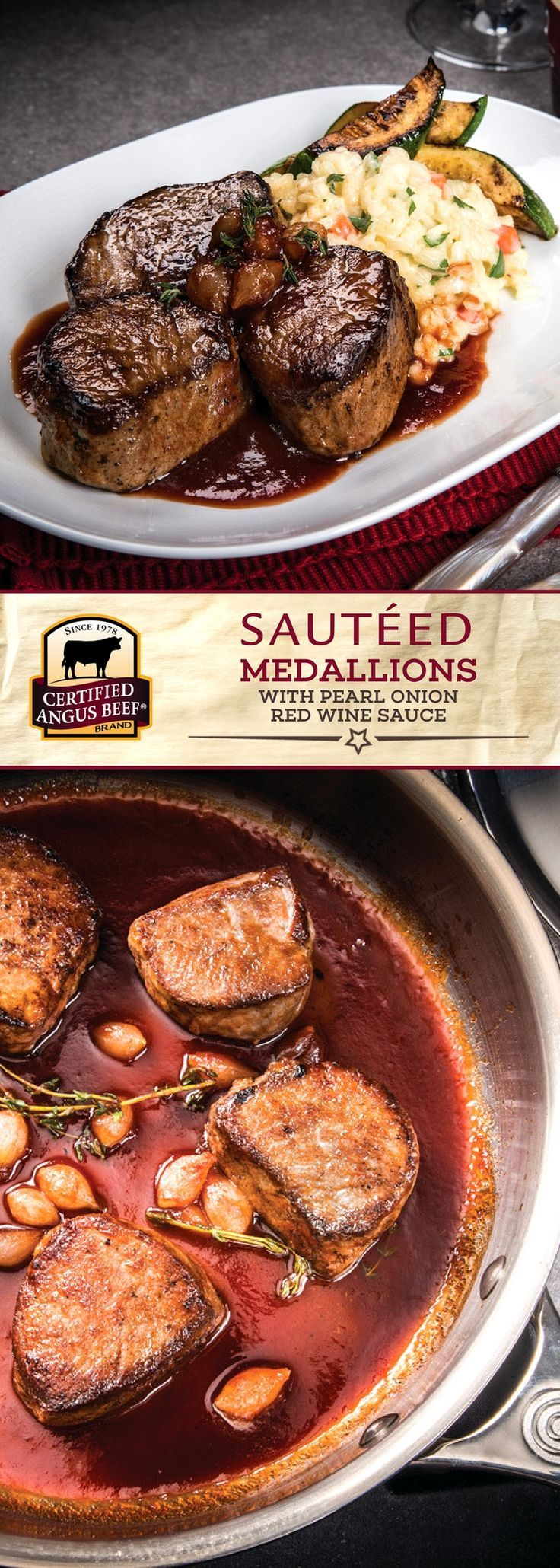 Certified Angus Beef®️️️️️️ brand Sautéed Medallions with Pearl Onion Red Wine Sauce is made with the best bottom sirloin medallions and petite pearl onions. This DELICIOUS recipe uses reduced red wine, tomato paste, pearl onions, thyme, and other spices for the perfect sauce!