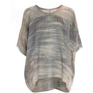 Raquel Allegra Beige Marbled Tie-Dye T-Shirt