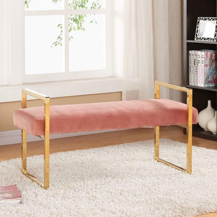 Meridian Furniture Olivia Pink Velvet Bench On Gold
