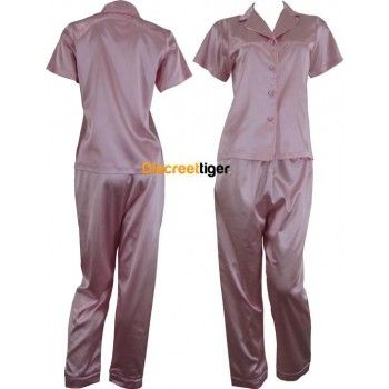 Light Pink Satin Pyjamas Pj's. Soft and Luxurious set. Shirt is short sleeve, button up with collar and the pants are full length, long with drawstrings. Petite to Plus Size. Other colours available: Champagne Pink, White, Black and Red. Worldwide shipping. Mix and match, make it fun.