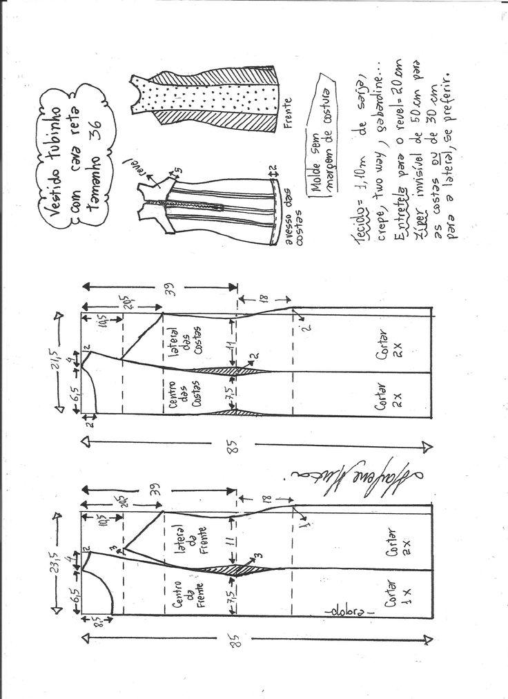 Esquema de modelagem de vestido tubinho cava reta tamanho 36.