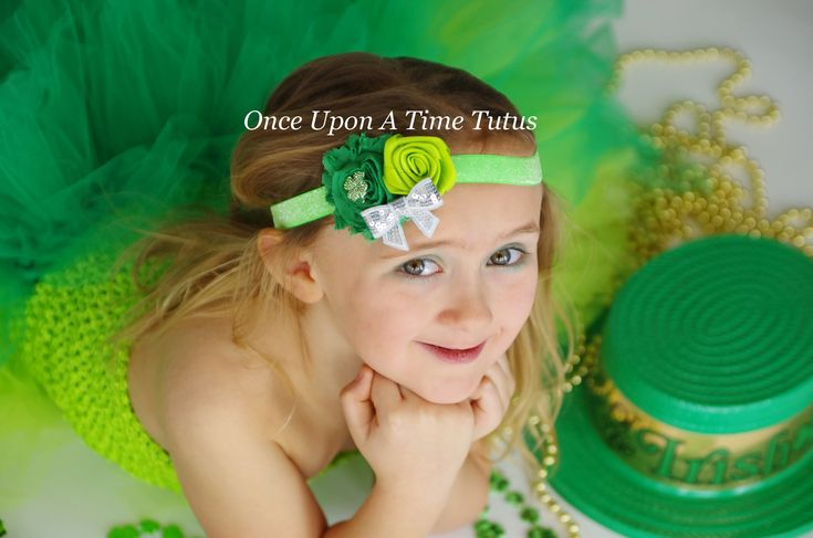 Bright Shamrock Flower Headband - St. Saint Patricks Day Hairbow 4 Leaf Clover Silver Sequin Hair Bow Lime Emerald Kelly Green Accessories by OnceUponATimeTuTus on Etsy