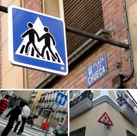 clever urban graffiti by spanish artist SpY.  http://restreet.altervista.org/spy-dissemina-le-sue-provocazioni-in-piazze-e-strade/