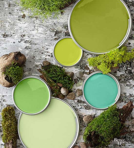 Greens found in forests, orchards, and terrariums play well together in designs ranging from contemporary to cottage. This palette, which includes olive, turquoise, aloe, clover, and citron, combines warm yellowish greens with cooler greens sporting blue and dusty undertones./