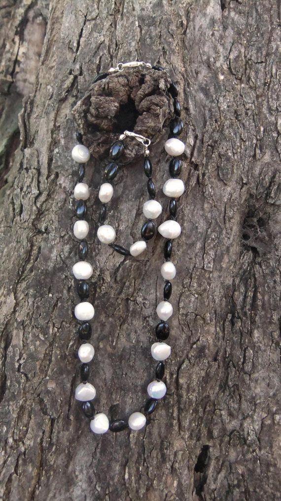 Onyx gemstone and freshwater pearl necklace and by ellenisworkshop, $155.00