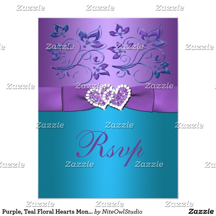 Purple, Teal Floral Hearts Monogram Wedding RSVP Card This pretty purple and turquoise blue floral wedding reply card has a purple PRINTED ribbon and a pair of PRINTED diamond jewels and FAUX glitter joined hearts on it that matches the wedding invitation shown below.