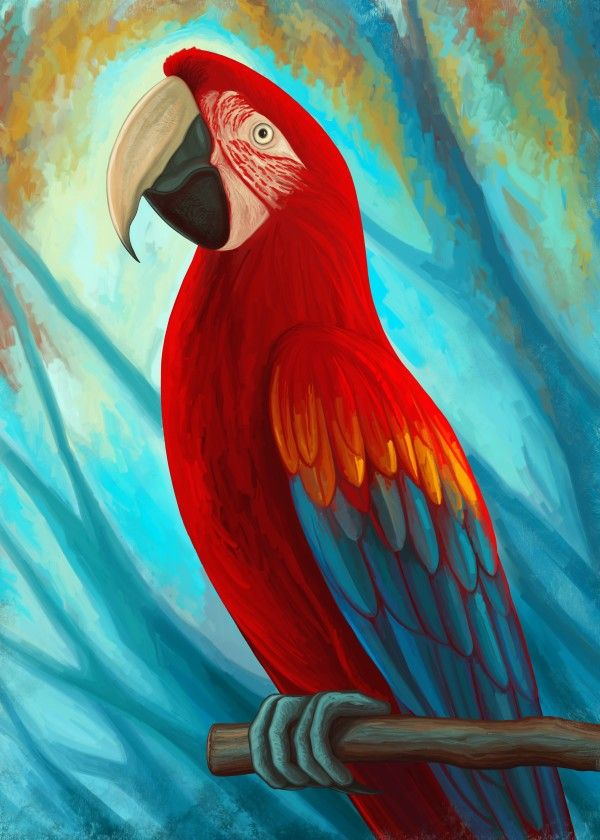 """Technicolor Macaw"" Print on metal by Remus Brailoiu 
