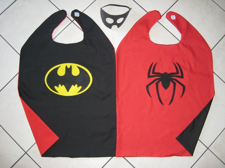 reversible superhero cape Lucas has batman and Superman instead of spiderman. Get satin costume fabric at Halloween time it is like $1.99/yd. Also made Evelyn and Ava girl versions with pink/purple crown on one side, and supergirl S on the other.