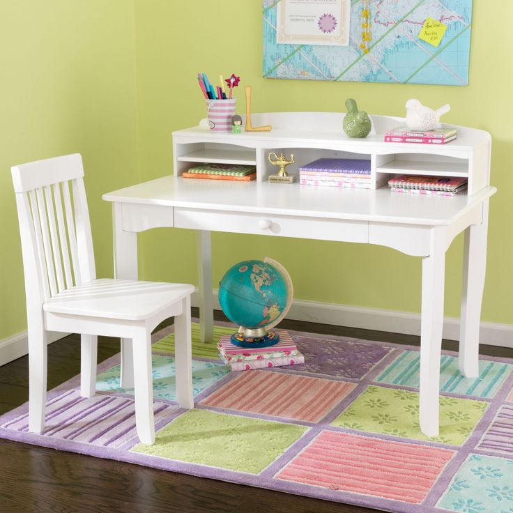Kid Kraft Avalon Desk With Hutch   White   26705
