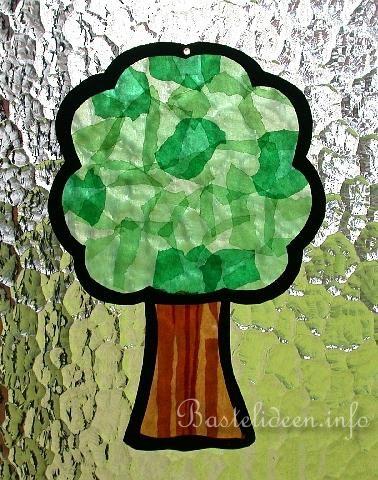Basteln mit Kindern - Bastelideen - Fensterbild - Baum