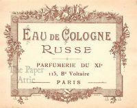 Antique Vintage French Paris Perfume Label Eau de Cologne Russe