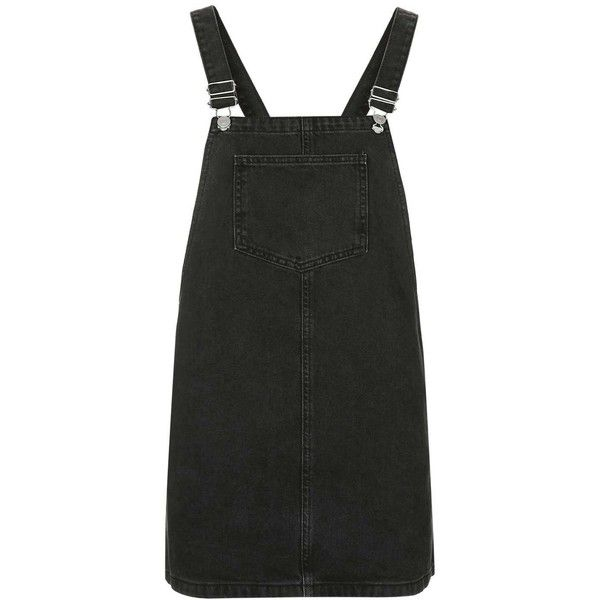 TopShop Petite Moto Square Neck Pinafore Dress ($47) ❤ liked on Polyvore featuring dresses, topshop, square neckline dress, green dress, topshop dresses and boxy dress