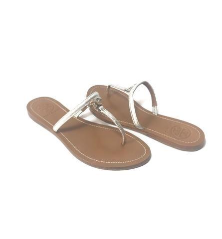 b8767cb126e8 Tory Burch T Logo Flat Leather Thong Silver Sandals