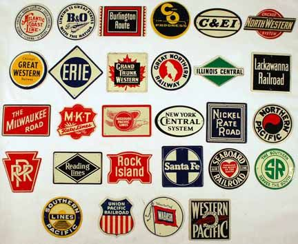 28 tin railroad logos offered in the 50's and 70's in cereal boxes.