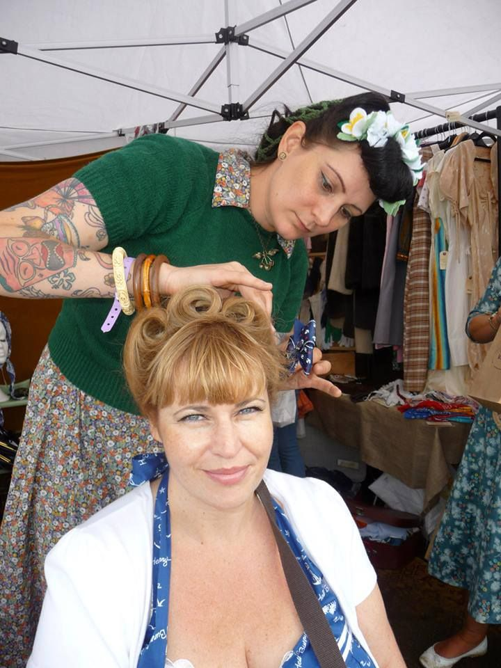 Photo courtesy of Pyramid Clicks. Vintage hair by me (Sarah's Doo-Wop Dos) done at my stand at Twinwood Festival 2013