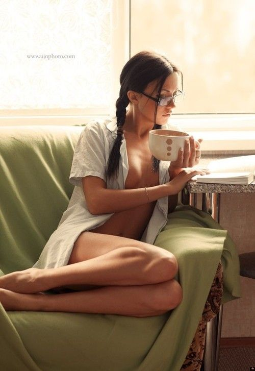 Hot Babe With Glasses And Drinking Coffee How Sexy  Book Girl Reading Group -3632