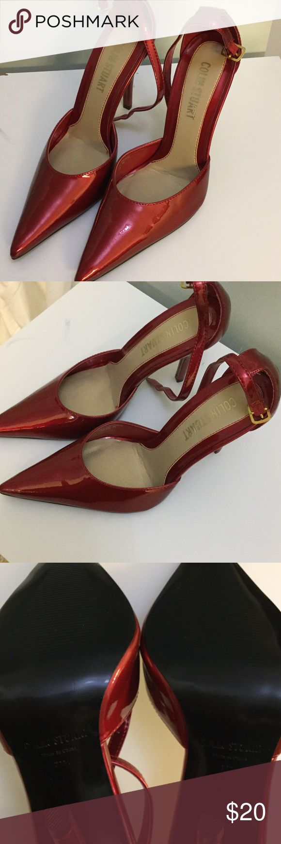 "Red patent Colin Stuart heels Beautiful red patent Colin Stuart 4"" heels. Have adjustable strap for heel. Great condition. Wear only on strap. Size 7.5. Colin Stuart Shoes Heels"