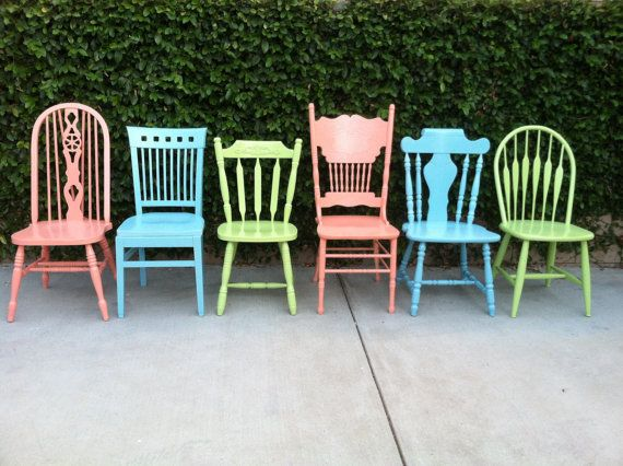 These mix and match sets of 6 Vintage Shabby Chic Dining chairs, are solid wood vintage or antique chairs that have been completely restored and